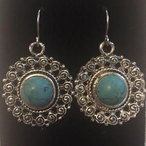 Bohemian Style Fashion Turquoise Pendant Earrings